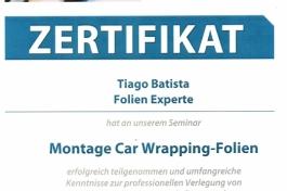 Zertifikat Tiago Batista Car Wrapping